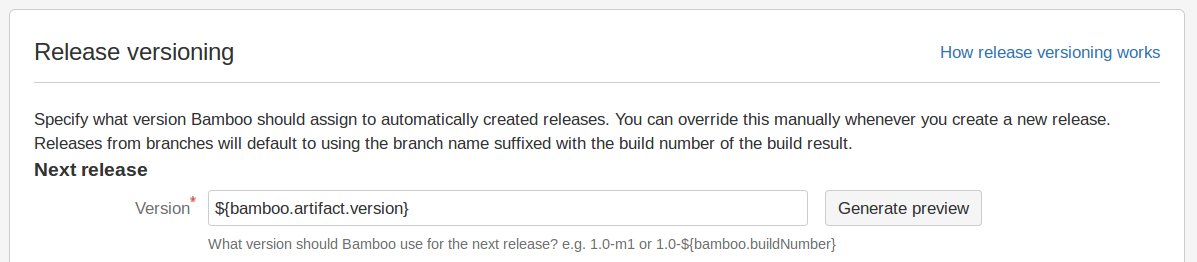 Bamboo custom release versioning